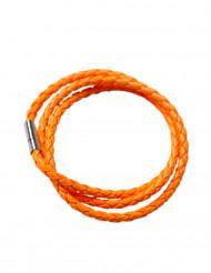 Pulseira entrançada cor de laranja fluo adulto