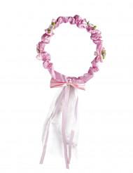 Coroa de flores com fita menina
