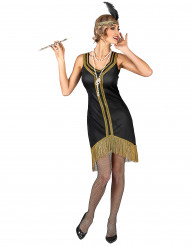 Disfarce Charleston preto e dourado com franjas mulher