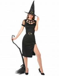 Disfarce Bruxa sexy preta Halloween mulher