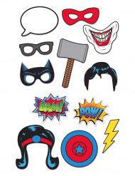 Kit photobooth 12 peças super-heróis