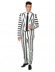 Fato Mr. Striped preto e branco homem Suitmeister™