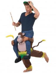Disfarce homem às costas de um macaco adulto