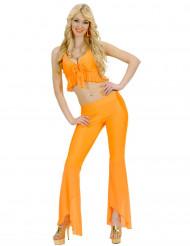 Disfarce disco sexy fluo cor de laranja mulher