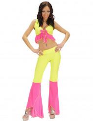 Disfarce disco sexy fluo cor-de-rosa e amarelo mulher