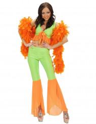 Disfarce disco sexy fluo cor de laranja e verde mulher