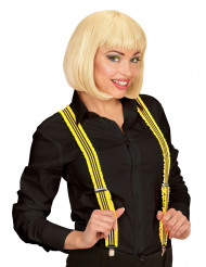 Suspensórios amarelos fluo adulto