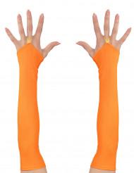 Miténes compridos cor de laranja fluo mulher