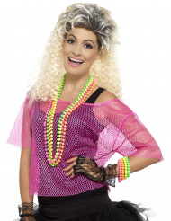 Top curto rede cor-de-rosa anos 80 mulher