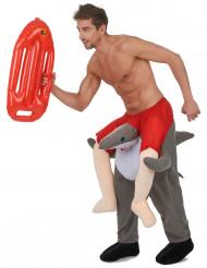Disfarce homem as costas de um tubarão adulto
