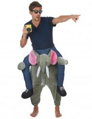 Disfarce homem as costas de um elefante adulto