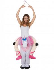 Disfarce bailarina as costas de um unicórnio adulto