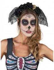 Bandolete preta com véu e renda Dia de los Muertos