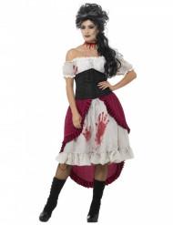 Disfarce pirata fantasma sangrenta mulher Halloween