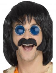Kit hippie preto com bigode e patilhas homem