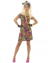 Disfarce anos 80 fluo leopardo mulher
