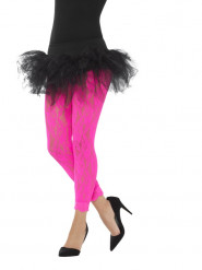 Legging de renda cor-de-rosa fluo mulher