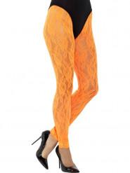 Leggings renda cor de laranja fluo mulher