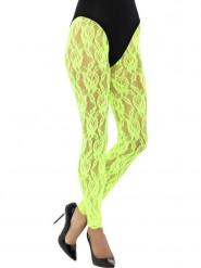 Legging de renda verde fluo mulher