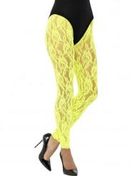 Legging renda amarelo fluo mulher