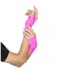 Miténes curtas renda cor-de-rosa fluo mulher