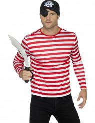 T-shirt às riscas vermelhas e brancas adulto