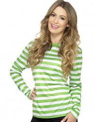 T-shirt às riscas verdes e brancas adulto