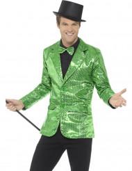 Casaco disco verde com lantejoulas luxo homem