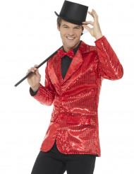 Casaco disco vermelho com lantejoulas luxo homem