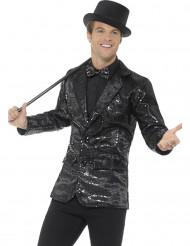 Casaco disco preto com lantejoulas luxo homem