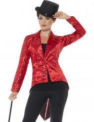 Casaco vermelho com lantejoulas mulher