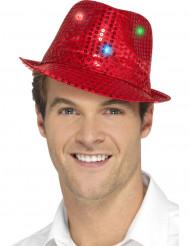 Chapéu borsalino vermelho com lantejoulas e LED adulto
