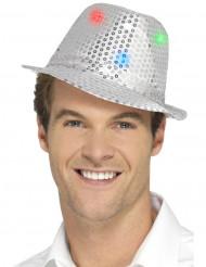 Chapéu borsalino prateado com lantejoulas e LED adulto