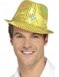Chapéu borsalino dourado com lantejoulas e LED adulto