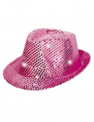 Chapéu borsalino cor-de-rosa com lantejoulas e LED adulto