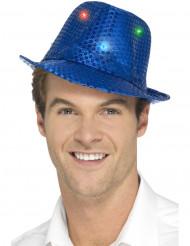 Chapéu borsalino azul com lantejoulas e LED adulto