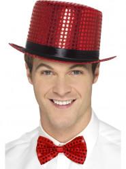 Chapéu alto com lantejoulas vermelhas adulto