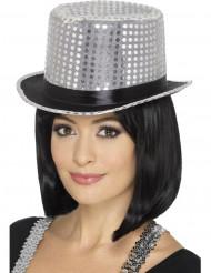 Chapéu alto com lantejoulas prateadas pretas adulto