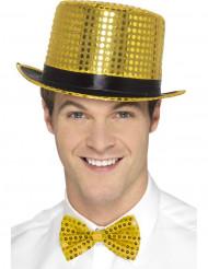 Chapéu alto com lantejoulas douradas adulto