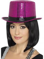 Chapéu alto com lantejoulas cor-de-rosa adulto