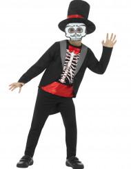 Disfarce gentleman esqueleto menino Halloween
