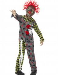 Disfarce esqueleto palhaço maluco criança Halloween