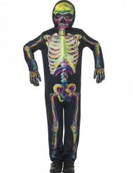 Disfarce esqueleto colorido fosforescente criança Halloween