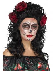 Peruca comprida preta com rosas mulher Dia de los muertos