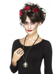 Colar e anel esqueleto adulto Halloween