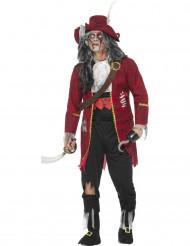 Disfarce luxo capitão zombie halloween vermelho - homem