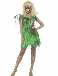 Disfarce fada verde zombie mulher Halloween