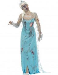Disfarce princesa do gelo zombie mulher Halloween