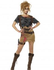 Disfarce caçadora zombie mulher Halloween