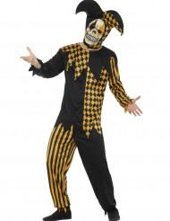 Disfarce Bobo diabólico preto e dourado homem Halloween
